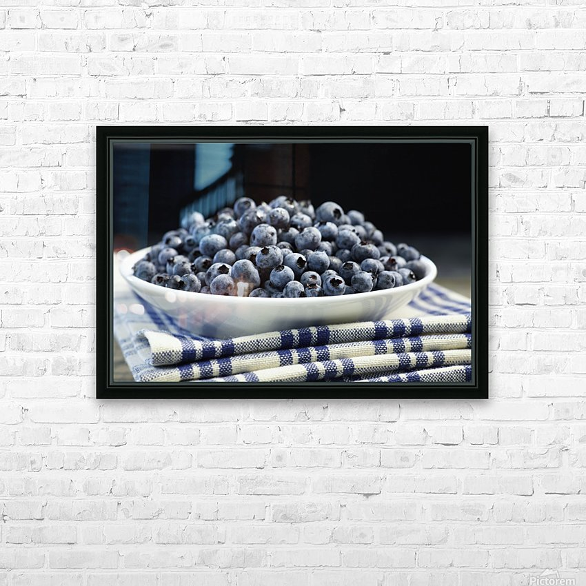 Bowl of blueberries; Quebec, Canada HD Sublimation Metal print with Decorating Float Frame (BOX)