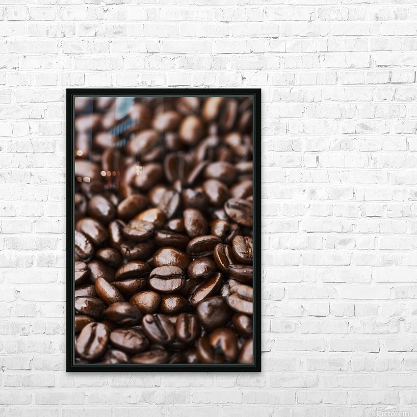 Medium dark roast Kona coffee beans close up; Holualoa, Big Island, Hawaii, United States of America HD Sublimation Metal print with Decorating Float Frame (BOX)