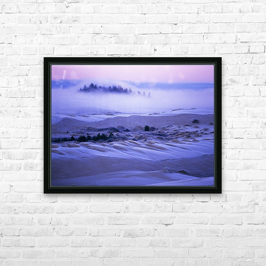 Fog over the sand dunes at dawn after a heavy frost; Lakeside, Oregon, United States of America HD Sublimation Metal print with Decorating Float Frame (BOX)