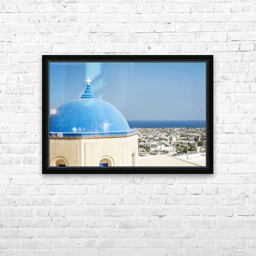 Church with a blue dome roof and view of the Aegean sea; Megalochori, Santorini, Greece HD Sublimation Metal print with Decorating Float Frame (BOX)