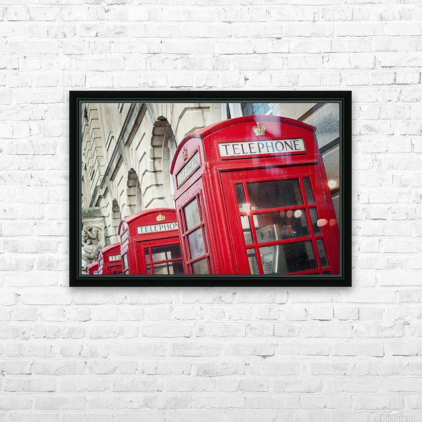 Telephone boxes in a row; Blackpool, Lancashire, England HD Sublimation Metal print with Decorating Float Frame (BOX)