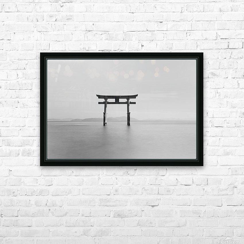 Black and white image of a floating shrine on a lake; Takashiyama, Shiga, Japan HD Sublimation Metal print with Decorating Float Frame (BOX)
