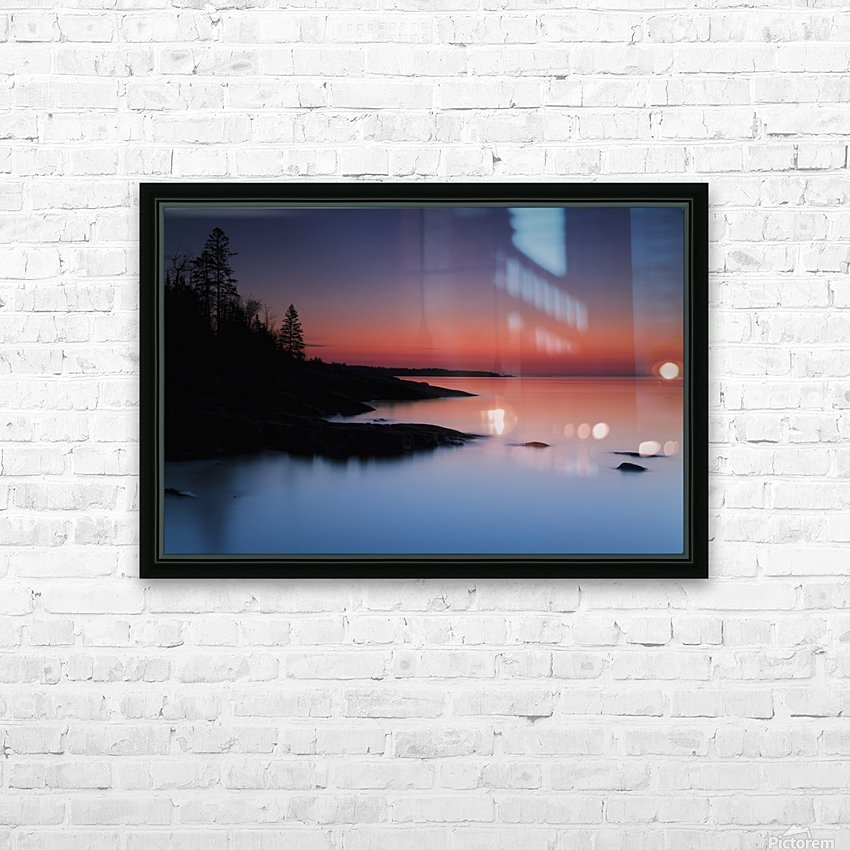 Dawn over the North Shore of Lake Superior, near Duluth; Minnesota, United States of America HD Sublimation Metal print with Decorating Float Frame (BOX)