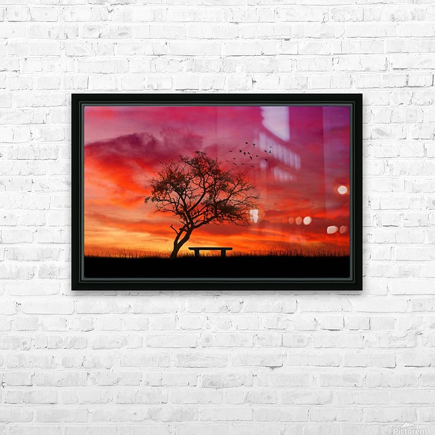 lonely sunset HD Sublimation Metal print with Decorating Float Frame (BOX)