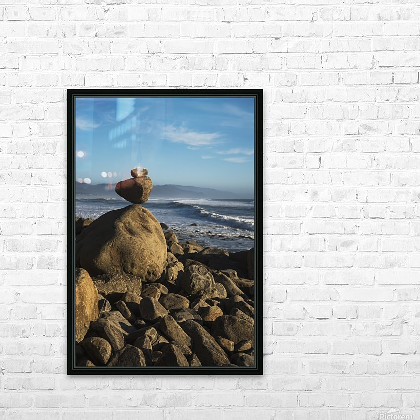 Stones have been balanced on Neahkahnie Beach; Manzanita, Oregon, United States of America HD Sublimation Metal print with Decorating Float Frame (BOX)