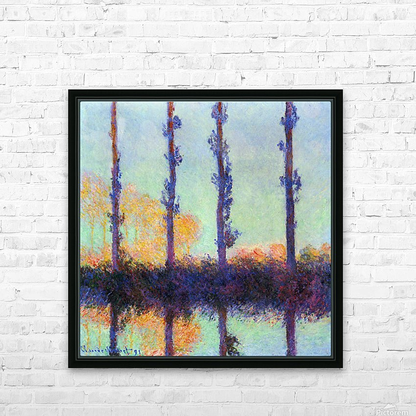 Four poplars by Monet HD Sublimation Metal print with Decorating Float Frame (BOX)
