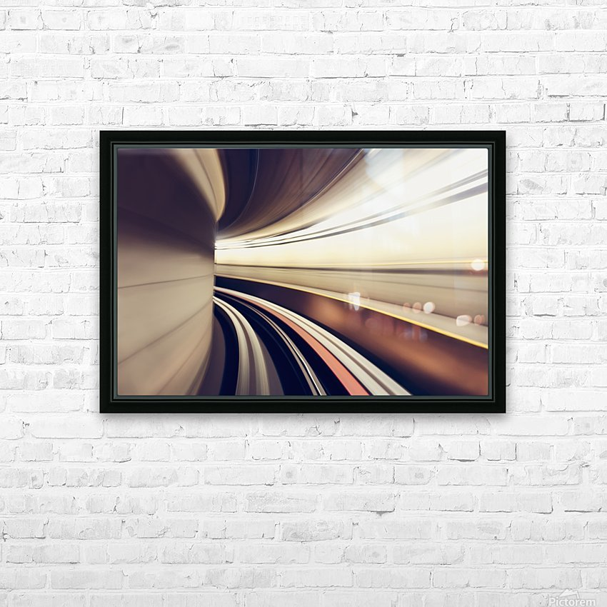Long exposure while taking underground transportaion giving a time warp feel; Seattle, Washington, United States of America HD Sublimation Metal print with Decorating Float Frame (BOX)