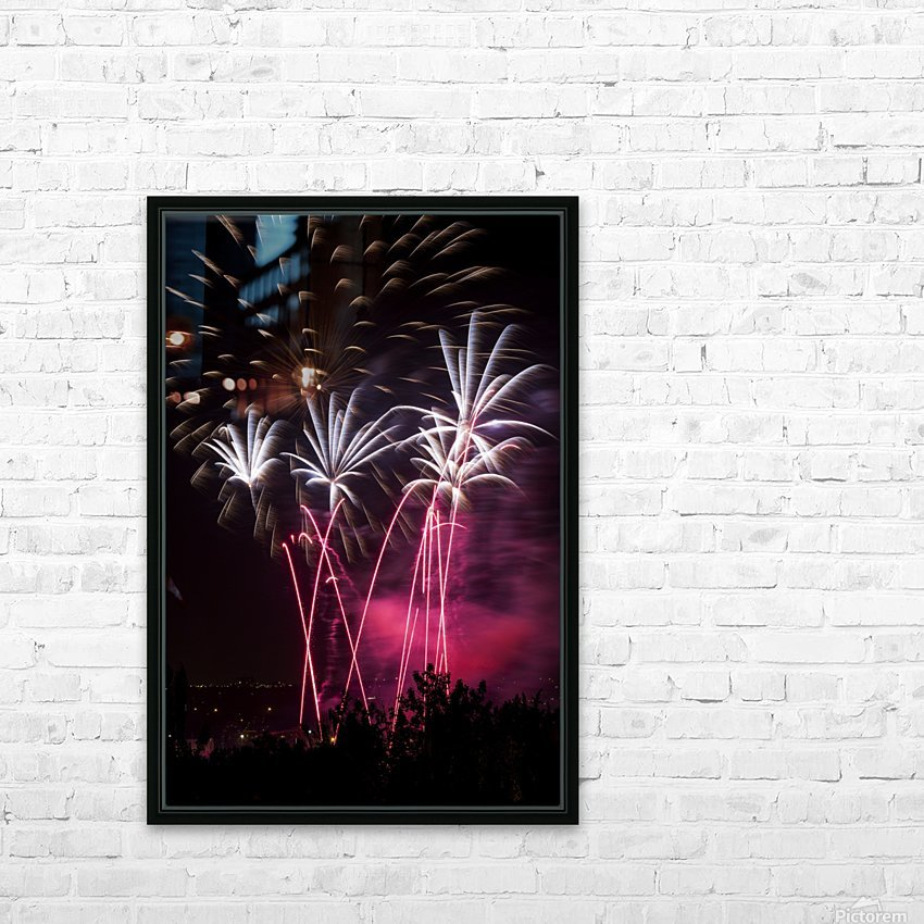 Colourful fireworks at nighttime; Calgary, Alberta, Canada HD Sublimation Metal print with Decorating Float Frame (BOX)