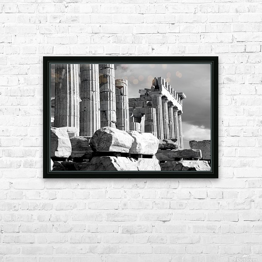 Mono piles of stones before ruined Parthenon; Athens, Attica, Greece HD Sublimation Metal print with Decorating Float Frame (BOX)