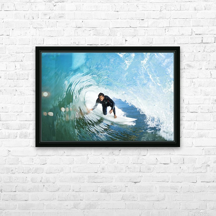 Surfer On Blue Ocean Wave HD Sublimation Metal print with Decorating Float Frame (BOX)