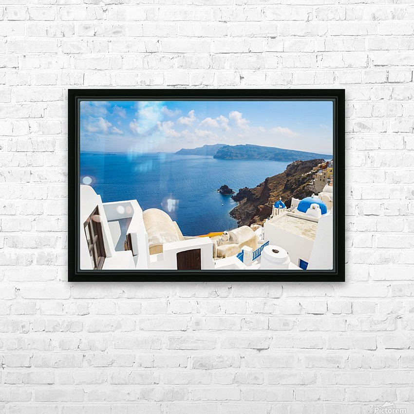 Santorini Island, Greece, Beautiful View of Blue Ocean and Traditional Dome Church Architecture HD Sublimation Metal print with Decorating Float Frame (BOX)