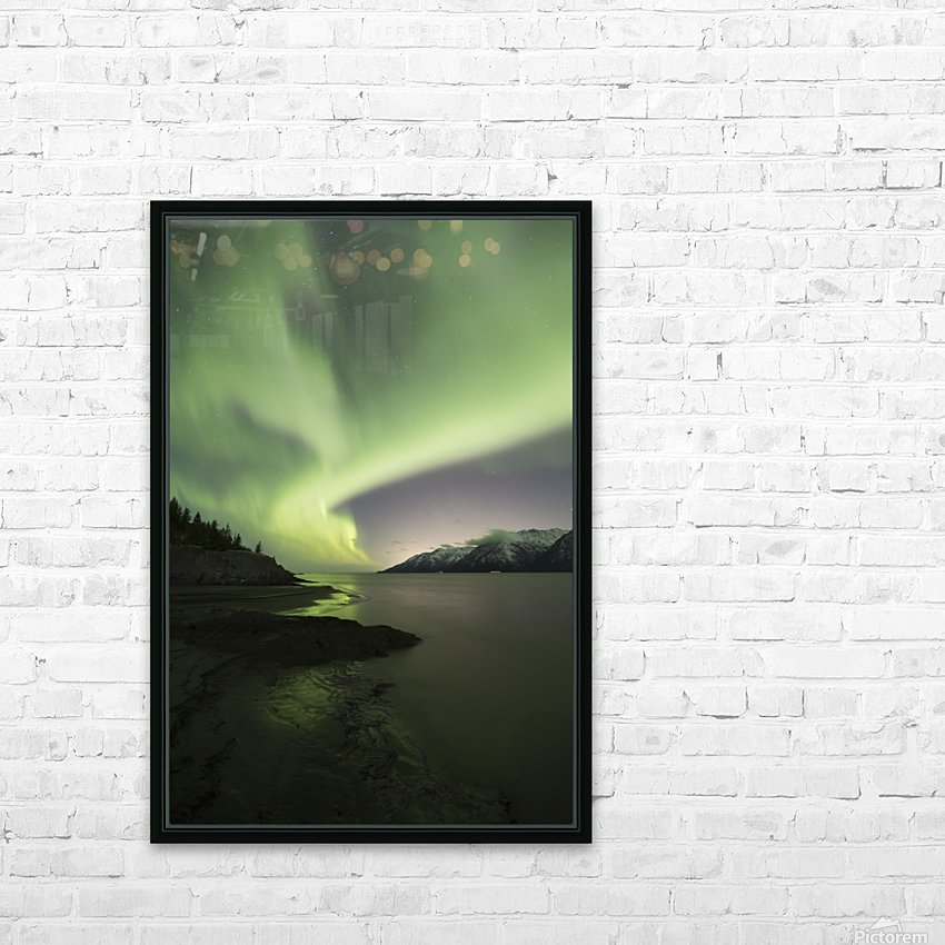 Aurora Borealis dancing above the Chugach Mountains and Turnagain Arm, Kenai Peninsula, Southcentral, Alaska HD sublimation métal imprimé avec décoration flotteur cadre (boîte)
