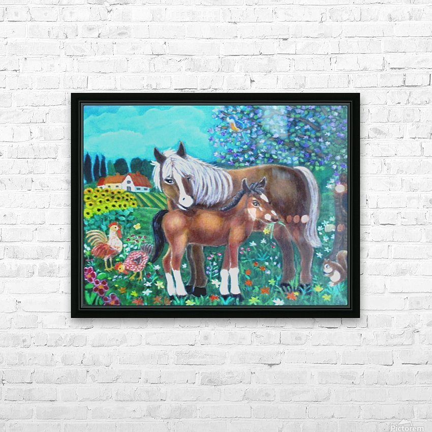 A mare and her foal. HD Sublimation Metal print with Decorating Float Frame (BOX)