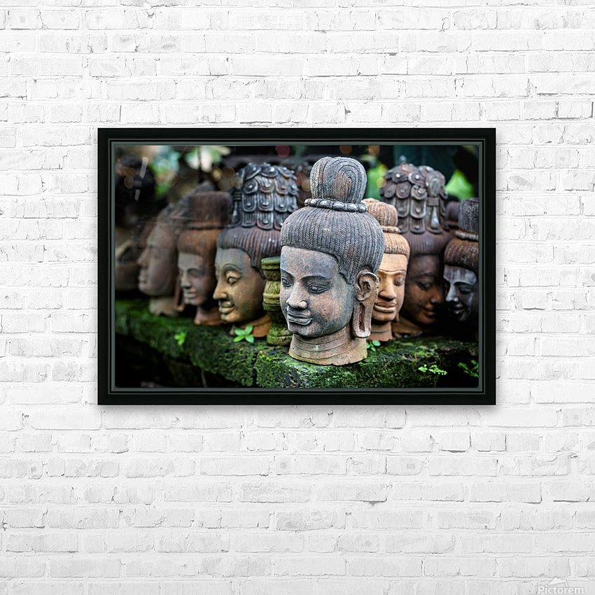 Heads of statues of Buddha are stacked in a terra-cotta factory; Chiang Mai, Thailand HD Sublimation Metal print with Decorating Float Frame (BOX)