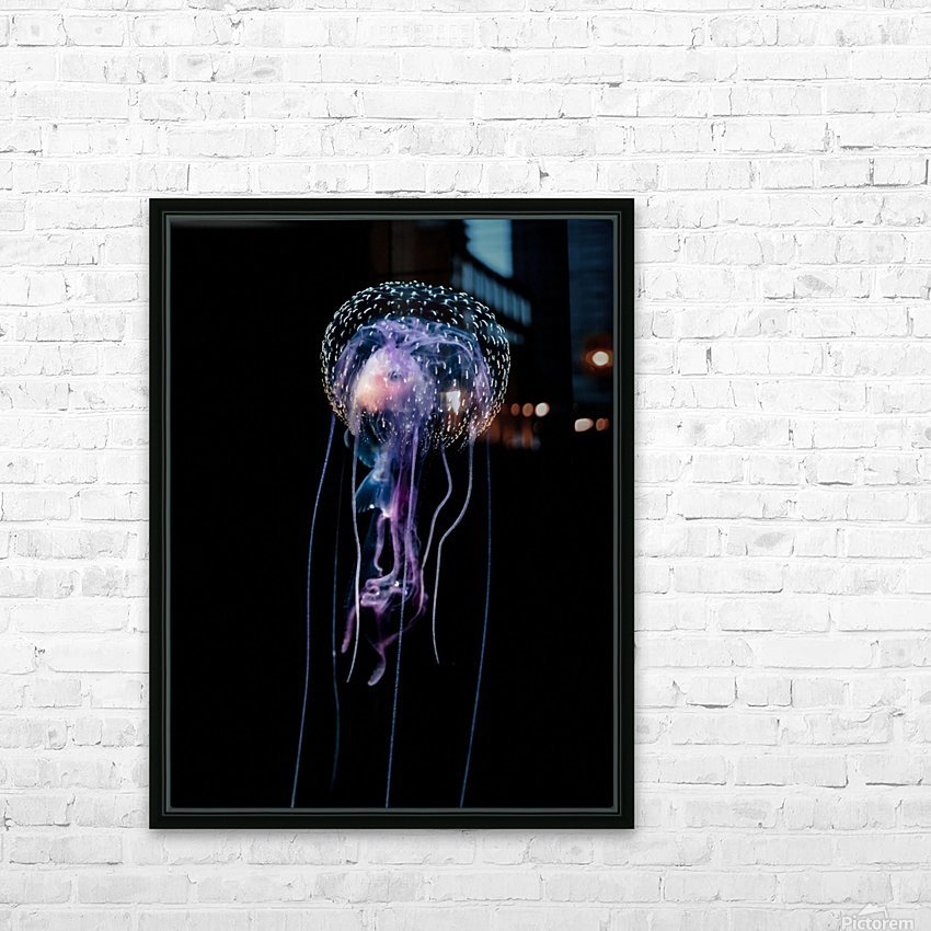 Jellyfish (Pelagia noctiluca) with fish prey photographed during a blackwater scuba dive several miles offshore of a Hawaiian Island at night; Hawaii, United States of America HD Sublimation Metal print with Decorating Float Frame (BOX)