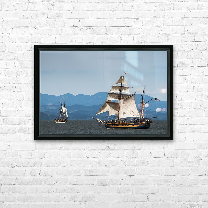 Tall ships sail on the Columbia River near Astoria; Oregon, United States of America HD Sublimation Metal print with Decorating Float Frame (BOX)