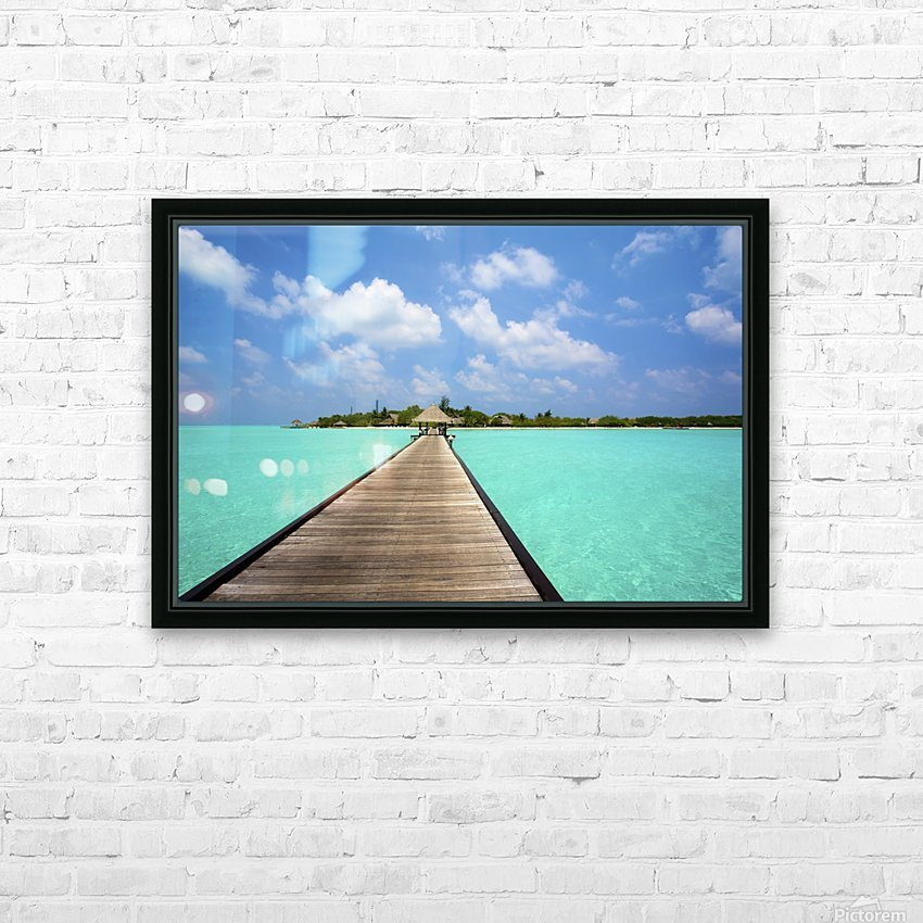 Jetty with cabana over crystal clear turquoise sea, Maldives HD Sublimation Metal print with Decorating Float Frame (BOX)