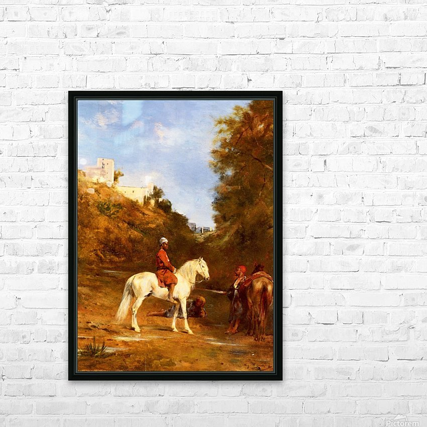 Watering the horses HD Sublimation Metal print with Decorating Float Frame (BOX)