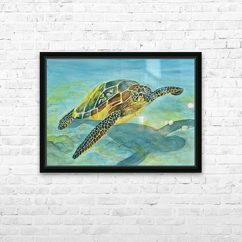 Sea Turtle HD Sublimation Metal print with Decorating Float Frame (BOX)