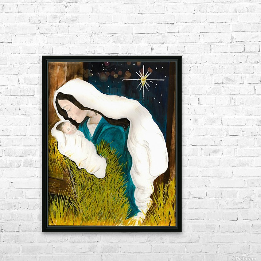 Unto us a Child is Born - Mary and Baby Jesus HD Sublimation Metal print with Decorating Float Frame (BOX)