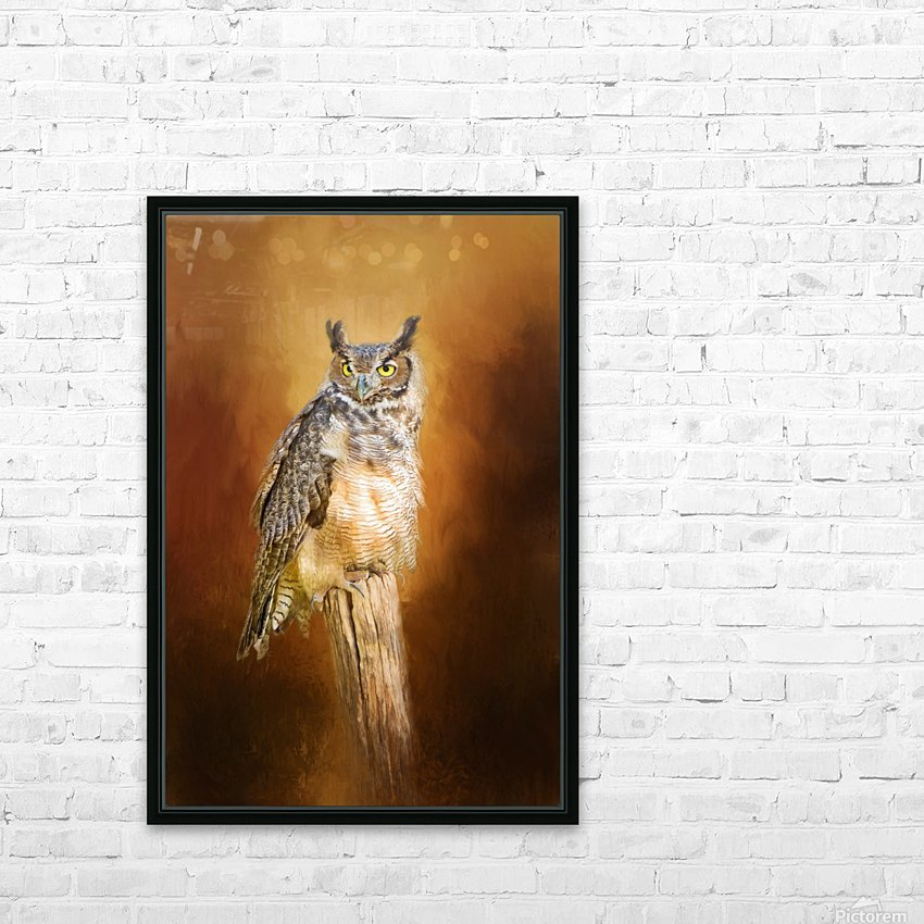 Great Horned Owl In Autumn HD Sublimation Metal print with Decorating Float Frame (BOX)