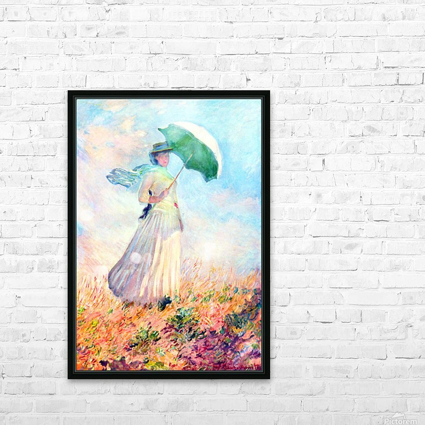 Lady with sunshade, study by Monet HD Sublimation Metal print with Decorating Float Frame (BOX)