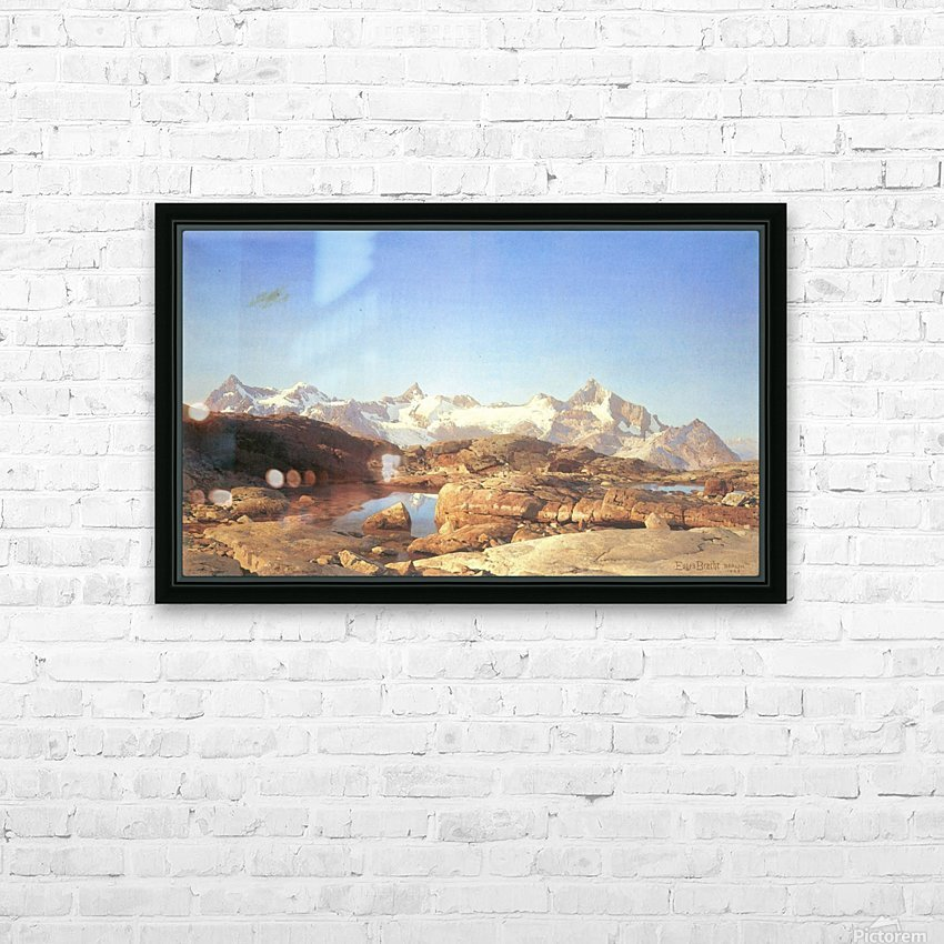 A lake surrounded by mountains HD Sublimation Metal print with Decorating Float Frame (BOX)