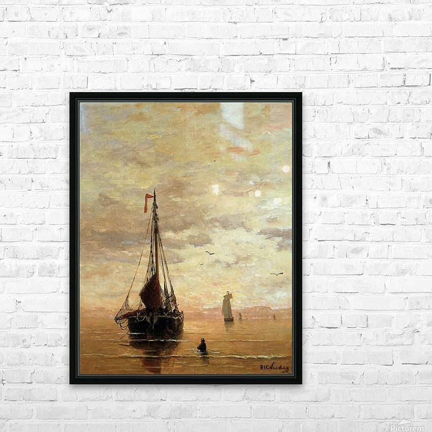 Ships On A Calm Sea Near The Coast Sun HD Sublimation Metal print with Decorating Float Frame (BOX)