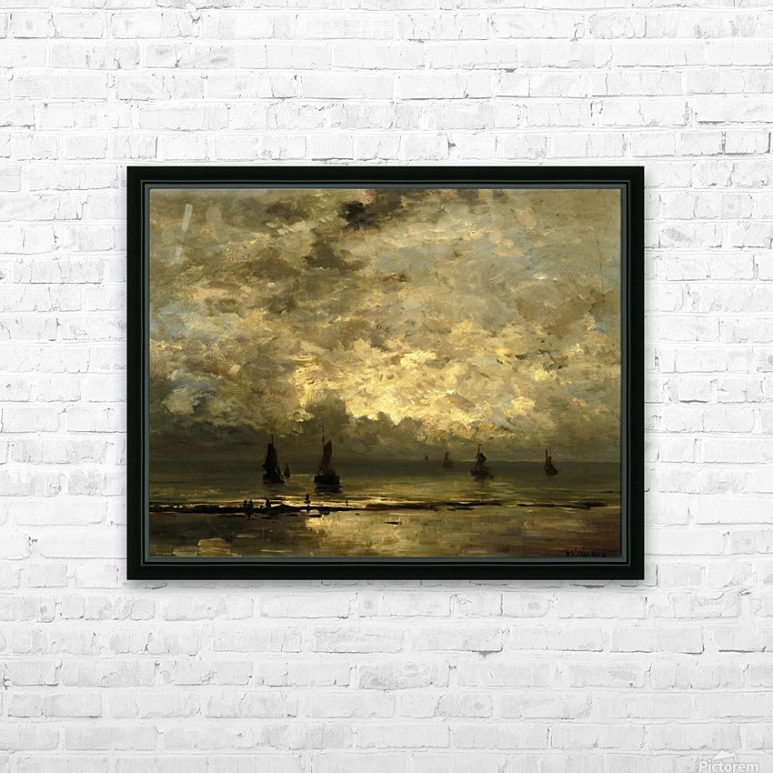 Schepen op zee onder bewolkte hemel HD Sublimation Metal print with Decorating Float Frame (BOX)