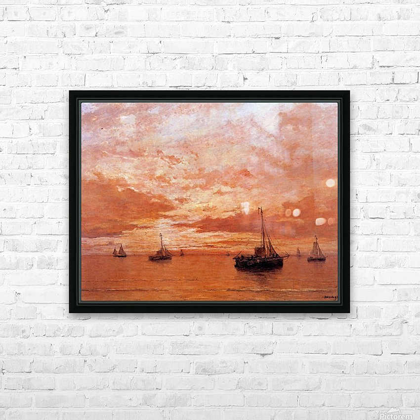 Calm Sea Sun HD Sublimation Metal print with Decorating Float Frame (BOX)