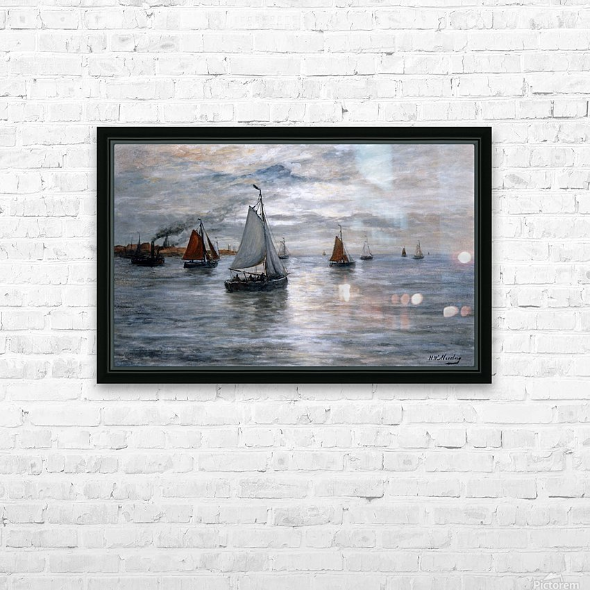 Sailing ships at Scheveningse coast HD Sublimation Metal print with Decorating Float Frame (BOX)