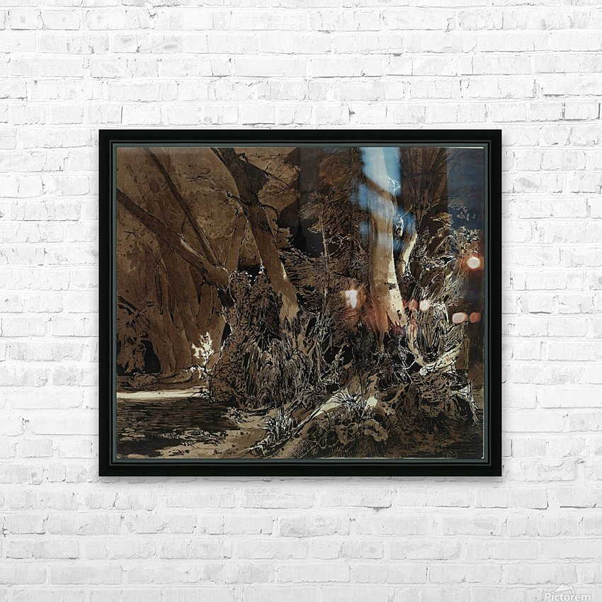 Forest landscape with flowing water and two hunters HD Sublimation Metal print with Decorating Float Frame (BOX)