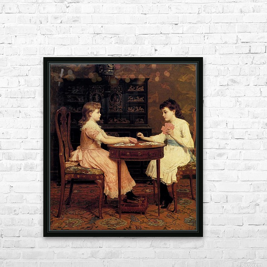 Two girls playing cards HD Sublimation Metal print with Decorating Float Frame (BOX)