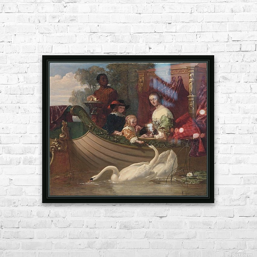 A young family feeding a swan HD Sublimation Metal print with Decorating Float Frame (BOX)