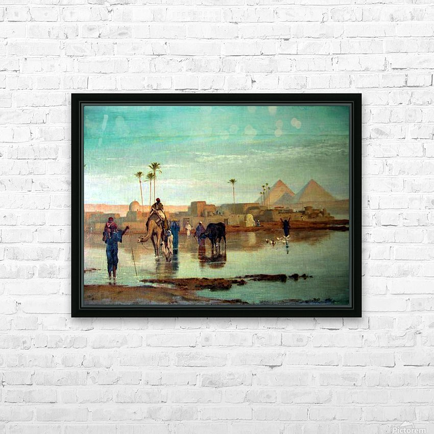 Crossing the river with the camels HD Sublimation Metal print with Decorating Float Frame (BOX)