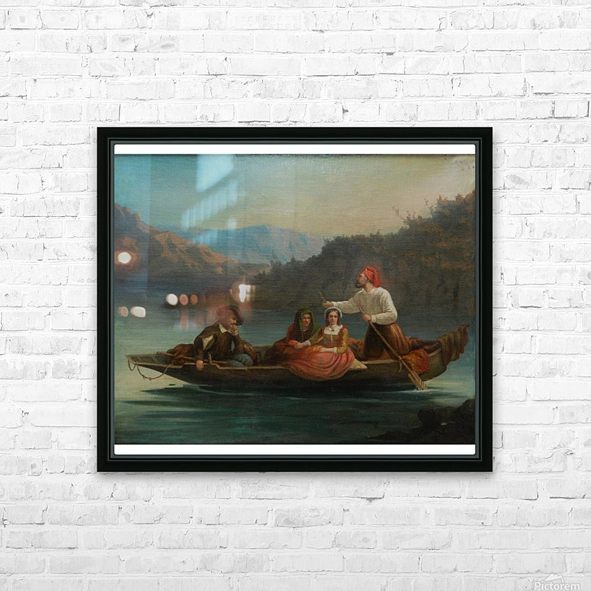 Crossing the river with a boat HD Sublimation Metal print with Decorating Float Frame (BOX)