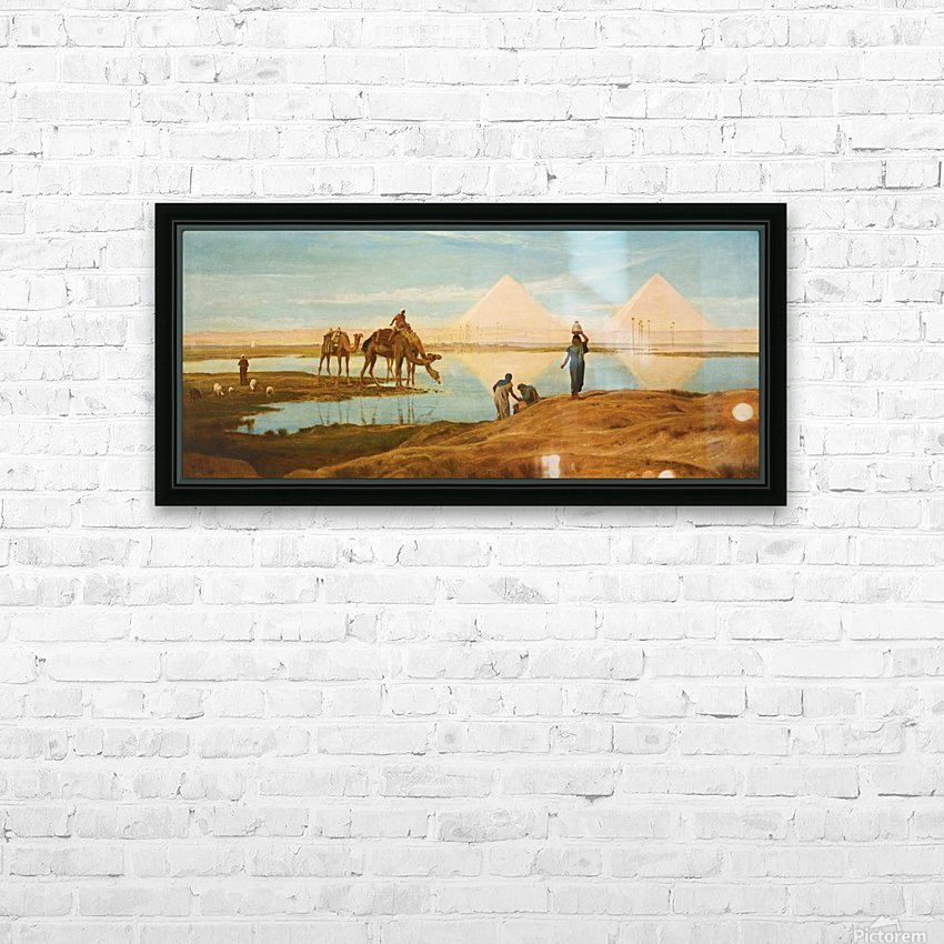 People and camels by the pyramids HD Sublimation Metal print with Decorating Float Frame (BOX)