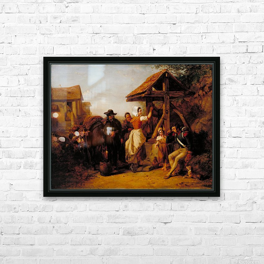 The Tired Soldier Resting at a Roadside Well HD Sublimation Metal print with Decorating Float Frame (BOX)