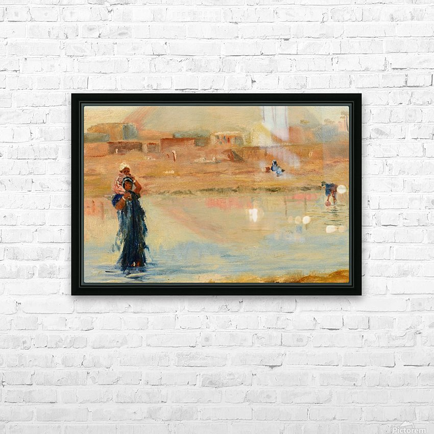A woman in a blue dress with her baby HD Sublimation Metal print with Decorating Float Frame (BOX)