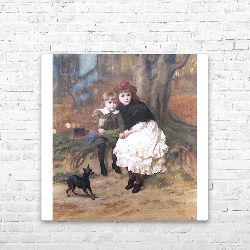Two children and their dog HD Sublimation Metal print with Decorating Float Frame (BOX)