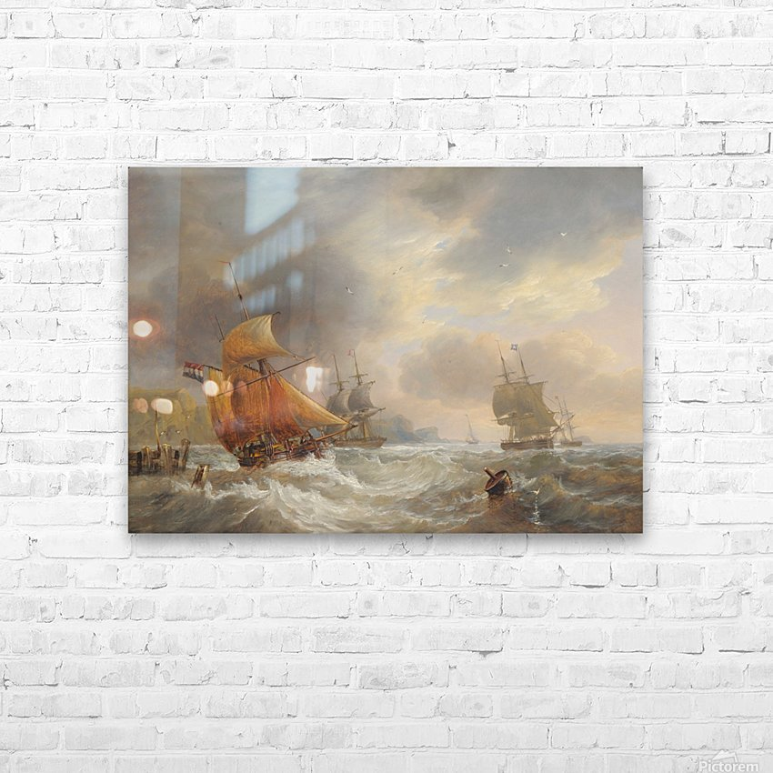 A stormy day of the sea HD Sublimation Metal print with Decorating Float Frame (BOX)