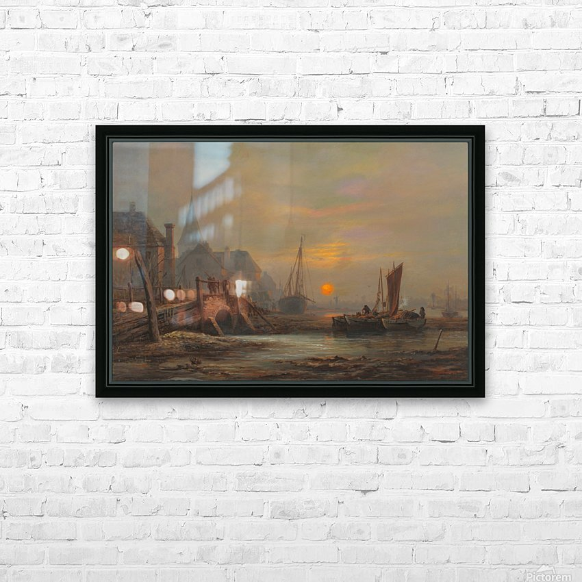 Sunset in a port HD Sublimation Metal print with Decorating Float Frame (BOX)