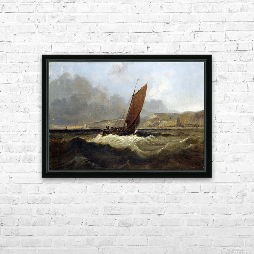 Sailing Boat off the Coast HD Sublimation Metal print with Decorating Float Frame (BOX)