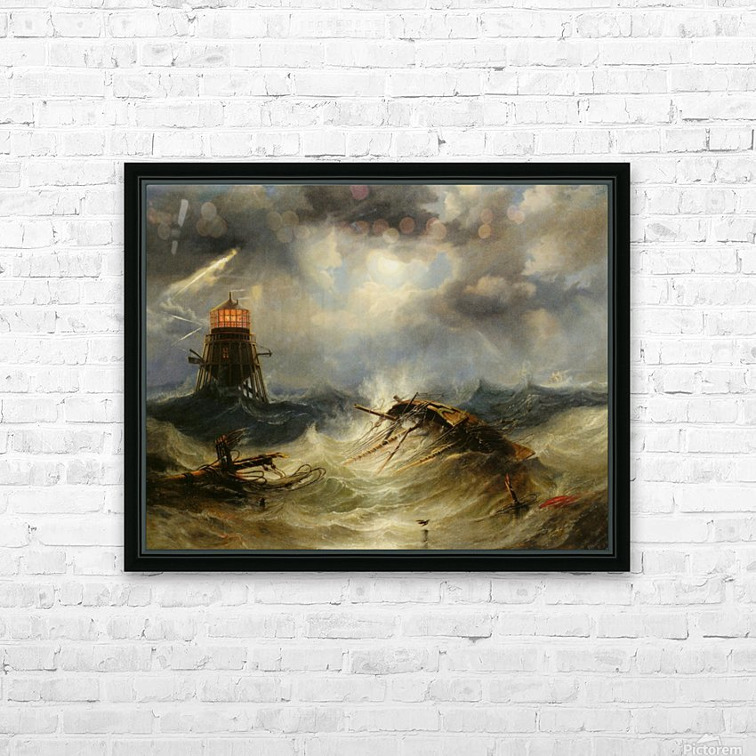 A stormy day on the sea and the lighthouse HD Sublimation Metal print with Decorating Float Frame (BOX)