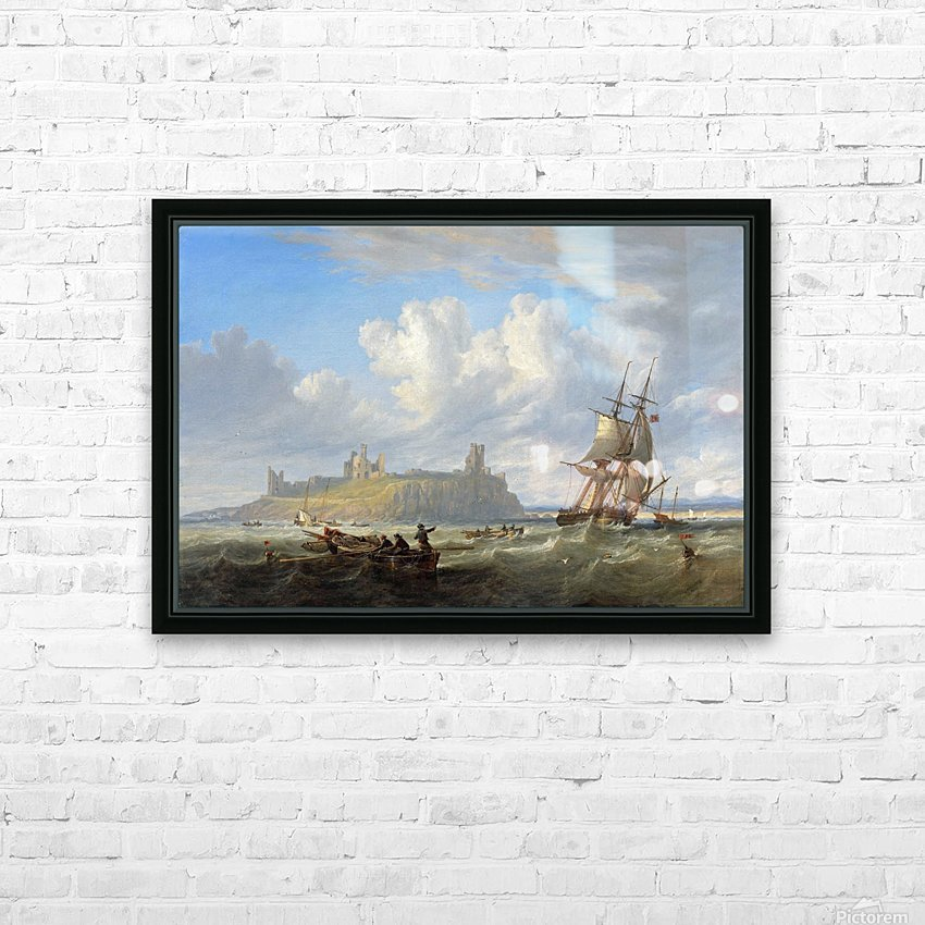 Shipping off Dunstanborough Castle, Northumberland 1844 HD Sublimation Metal print with Decorating Float Frame (BOX)