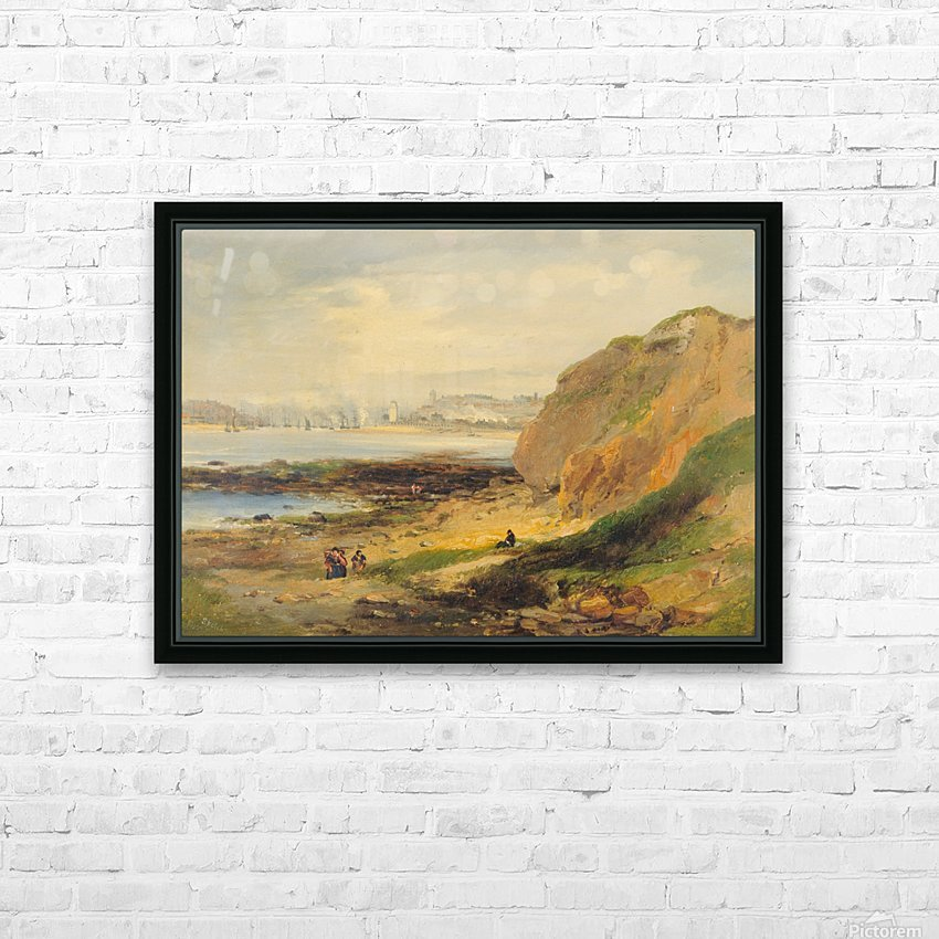 Landscape with boats near a distant city HD Sublimation Metal print with Decorating Float Frame (BOX)