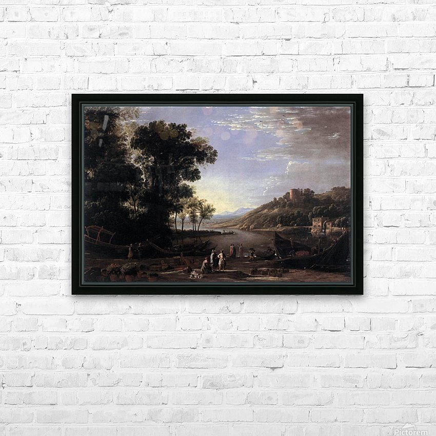 Paysage avec marchands HD Sublimation Metal print with Decorating Float Frame (BOX)