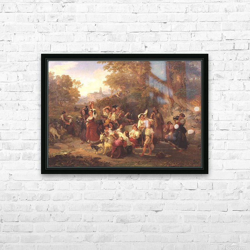 Neapolitan Peasants at a Fountain 1859 HD Sublimation Metal print with Decorating Float Frame (BOX)