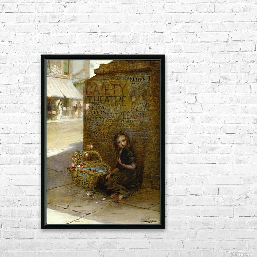 A little girl selling flowers HD Sublimation Metal print with Decorating Float Frame (BOX)