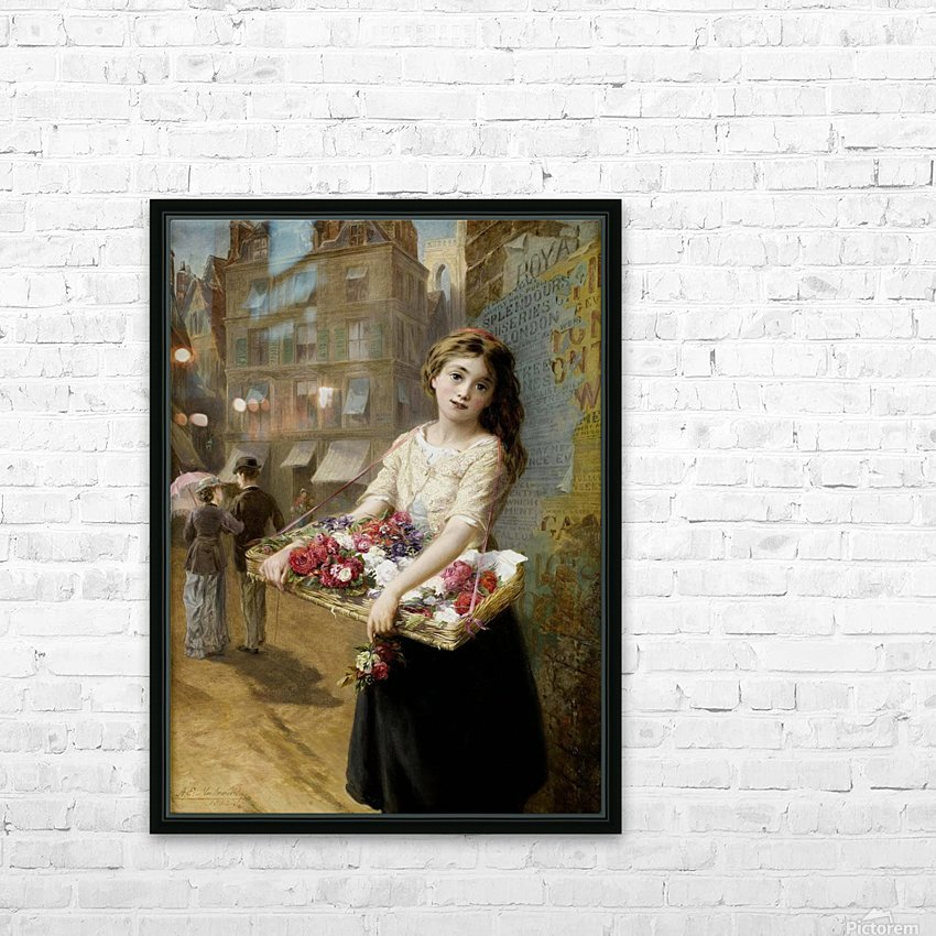 A girl selling roses HD Sublimation Metal print with Decorating Float Frame (BOX)